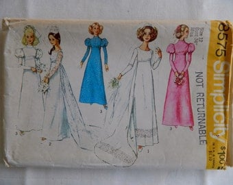 Bride or Bridesmaid Dress | High Waist Leg of Mutton Sleeve | misses 12 | SIMPLICITY 8575 | cut used complete vintage sewing pattern