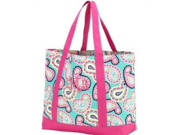 Monogrammed Mint & Pink Paisely Tote Bag/Preppy/Personalized
