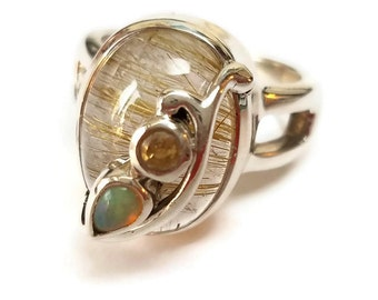 Rutilated quartz Opal Citrine Sterling silver Ring; handcrafted birthday anniversary gift; birthstone; gemstone .925 handmade jewelry cab