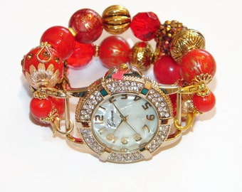 Red and Gold Chunky Beaded  Watch-Interchangeable Red and Gold Watch-Red Bracelet Watch-Unique Gift-BeadsnTime