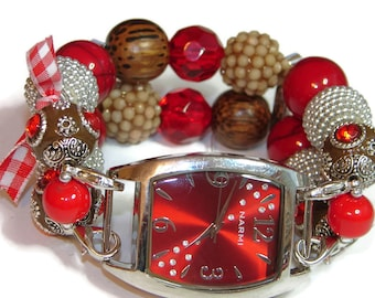 Red Loves Brown Chunky Beaded Watch - Interchangeable Watch - BeadsnTime - Unique Watch - Apple Watch Band - Bracelet Watch - Fashion Watch