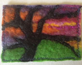 Abstract tree aceo art, tree at sunset, original, felt aceo
