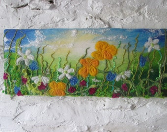 textile art, felt painting, meadow picture, flower meadow, felted wool, 20 x 8 inches