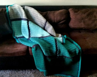Modern Blanket Afghan Throw - Color Block Throw - Turquoise - Teal - Grey- Gray - Ombre