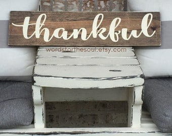 THANKFUL Wood Sign - Autumn Wall Art - Rustic Home Decor - Autumn Rustic Sign - Wood Sign - Farmhouse Decor - Thankful Decor - Autumn Decor