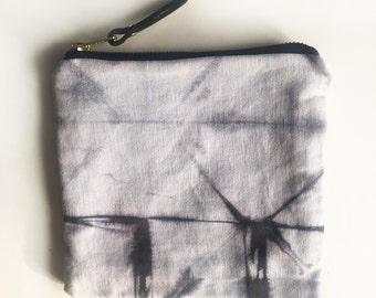 002//black//hand-dyed canvas pouch