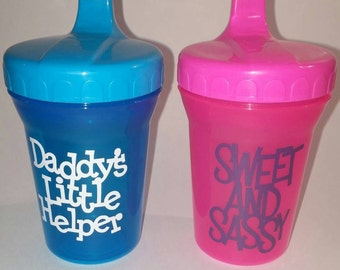 Customized sippy cups, personalized sippy cups, daddy's little helper, sweet and sassy sippy cup