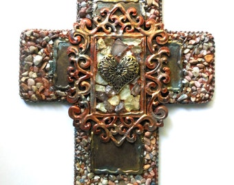 CROSS crosses religious gift sale love one of a kind found object mixed medium religious art wall decor crosses