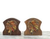 Pair of Vintage Folk Art American Indian Wooden Book Ends - Vintage American Indian - Handmade Vintage Bookends