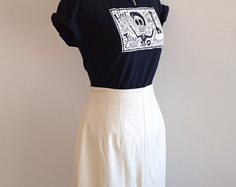SALE! Vintage Tight White Leather Pencil Skirt Size 4 or 6