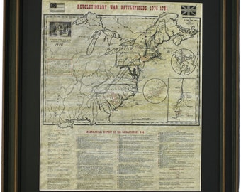 Framed Revolutionary War Battlefields 1775-1781 with Black Matte. Free Shipping!