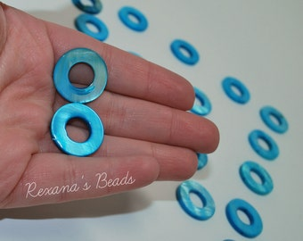 Blue Mother-of-Pearl 20mm Round Donut Beads- Set of 17