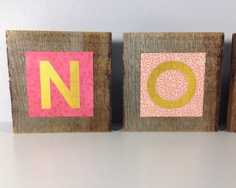 Wooden Letters For Nursery in Pink Coral and Gold Rustic Wood Letters Reclaimed Wooden Letters Wall Art Baby Names Baby Girl Nursery Decor