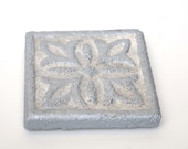 """Hand-Crafted Coasters Set Of Six   Rustic Silver   Cast Stone   Individually Cast & Hand-Painted   3 3/4"""" Square"""