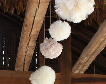 Wedding Decor, Lace and Tulle Pom Poms, Set of 3