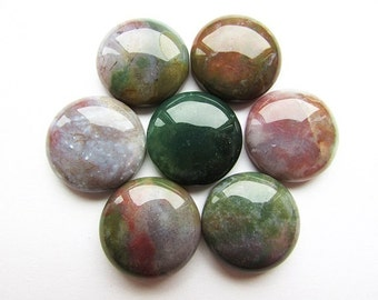 Agate Cabochon Indian Agate Cabochon 20 mm Natural Stone Cabochon Green Agate Cabochon Craft Supplies Jewelry making 1 pcs.