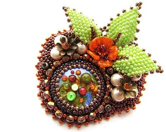 Bead Embroidered Multicolored Brooch Embroidery Lampwork Glass Brooch Embroidery Brooch OOAK Ready to ship
