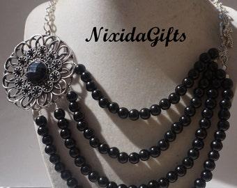 Black Flower Necklace Set