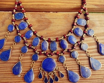 FREE Shipping Afghan Tribal necklace.Lapis Necklace.Bib Necklace- Collar neckpiece. Gypsy jewelry. Vintage Kuchi Necklace.Statement Necklace