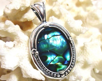 18x13 Blue Abalone Pendant Solid 925 Sterling Silver