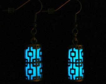 White And Antique Bronze Pillar Earrings Glow In The Dark Earrings (glows aqua blue)
