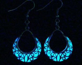 Crescent Moon Earrings Glow In The Dark Earrings Antique Bronze (glows aqua blue)