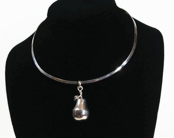 Vintage Sterling Silver Pear Fruit Pendant Necklace Collar Chocker