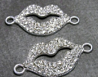 4 Lip Connector Charms Sideways Connector in Silver Rhinestone Connector Lips Charm, RC314