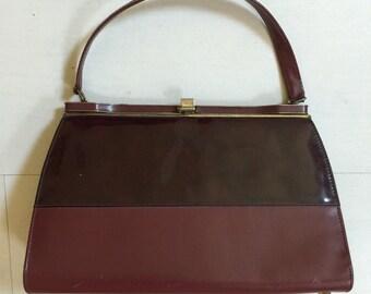 SALE! 1950s Oxblood Leather/Patent Leather Handbag Vintage Purse