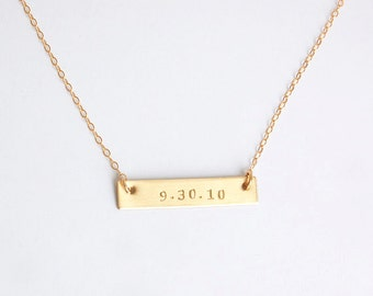 Gold bar wedding date, birth date necklace