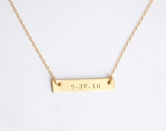 Gold bar wedding date, anniversary date, birth date necklace