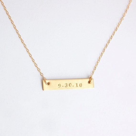 Personalized Couples Bar Necklace with Name & Date Silver