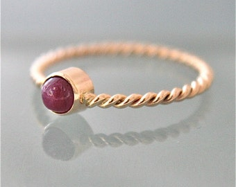 Ruby Twist Ring July Birthstone 14k SOLID Yellow Gold Twist Rope Infinity Ring1.5mm Stacking Band Recycled Gold Emerald or Sapphire Gemstone