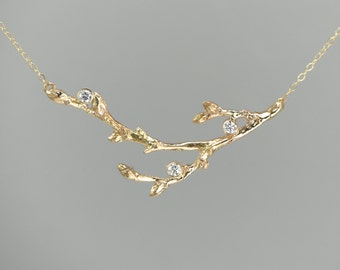 In Stock Now 14K Gold Linden Branch Twig with 3 Diamonds