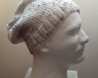 Slouchy Hat - Men's Hand  Knit Winter Hat  - Tan tweed  Hat  Ski Hat Knit  Wool Blend Washable Warm hat