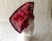 Haute Couture Raspberry Kentucky Derby Sinamay Straw Headpiece with Hydrangea Flower petals - High Fashion Fascinator Hat for Races