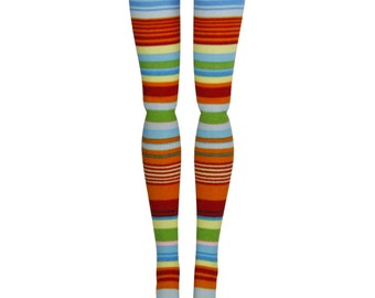 Barbie Doll Stockings - Primary Stripe - Doll Clothes - Barbie, Francie, Silkstone, Made to Move
