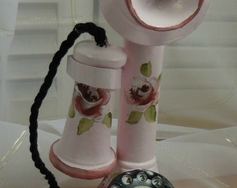 Reproduction - vintage stand up telephone, phone, display, Pink with Hand painted roses - Decorator
