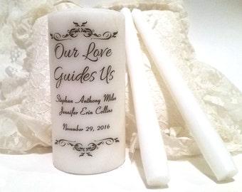 Wedding Candle Set, Unity Candle Set, Wedding Unity Candle, Wedding Ceremony, Anniversary Candle, Personalized Unity, Customized Candle