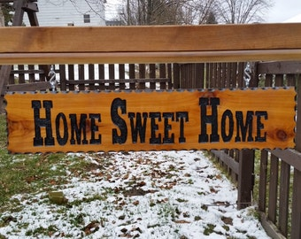 Home Sweet Home, Carved Sign, Wood Sign, Carved Wood Sign, Garden Sign, Outdoor Sign