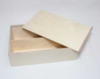 Wooden Box for DIY Projects / Unfinished Wooden Box with Slide Lid / Storage Box 13.38 x 7.87 x 3.54 inch
