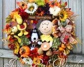 LAST 1 Left- MADE To ORDER-- A Charlie Brown Thanksgiving Wreath, Pilgrim Snoopy, Turkey Woodstock, pumpkin pie, Peanuts
