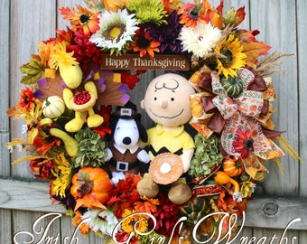 MADE To ORDER-- A Charlie Brown Thanksgiving Wreath, Pilgrim Snoopy, Turkey Woodstock, pumpkin pie, Deluxe Peanuts Holiday