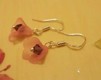 EARRINGS: Sterling Silver Pierced Earrings with Pink Frosted Lucite Bell Flower with a Purple Swarovski Crystal Center