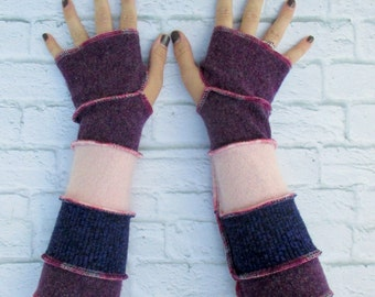 Long Wool Gloves - Fingerless Gloves - Fingerless Mittens - Hand Warmers - Gypsy Clothing - Thankful Rose - Upcycled Sweaters - Boho