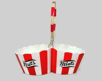 Shafford Country Club Nuts and Mints Ceramic Bowls, Styled by Shafford Serving Piece, Designed by Yona, Red & White Striped Cups