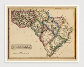 Old South Carolina Map Art Print 1817 Antique Map Archival Reproduction
