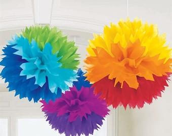 RAINBOW SET / 3 Tissue Paper Poms / Birthday Party Decor / Crib Mobile / Crayon Party / Rainbow Party / Unicorn Party Decor / Ready to Ship