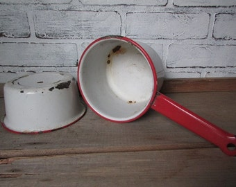 Enamel Vintage Pot and Pan Set of 2 White with Red Rim Rustic Farmhouse Planter