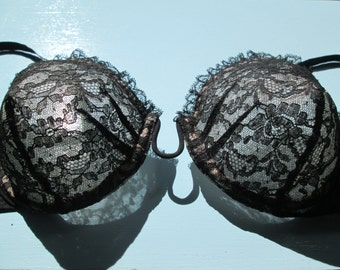 Glamourous Vintage 1940s 40s Overwire Black on Pink Nylon Sheer Lace Half Circle Wired Bullet Bra -Deadstock/Nos- Pin Up-Burlesque-Boudoir